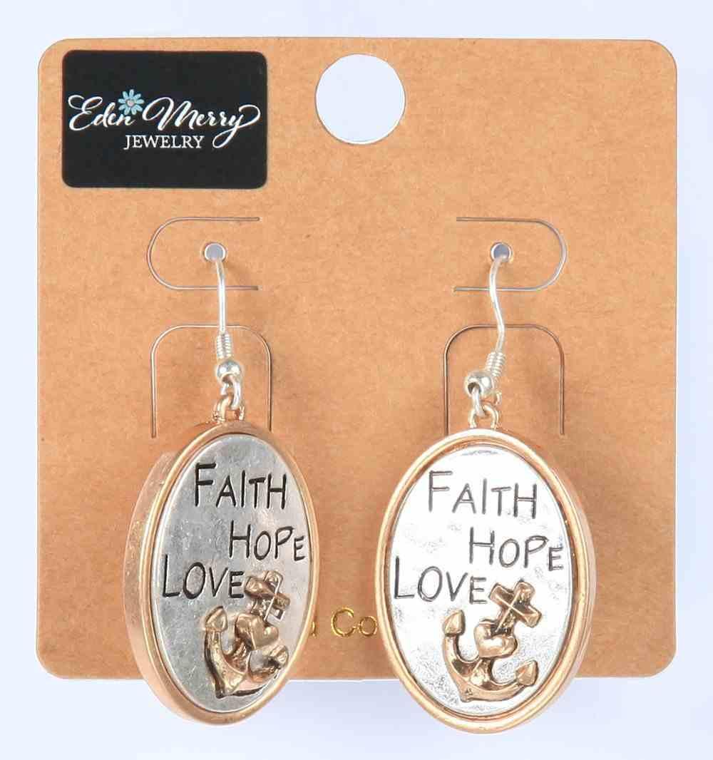 Earings: Faith Hope Love, Oval With Anchor, Zinc Based Jewellery