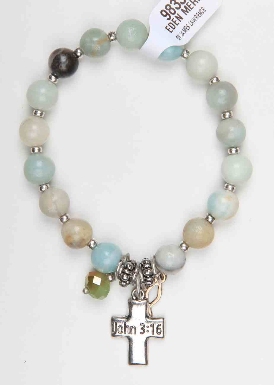 Story Bracelet: Stretchable, Semi-Precious Stones With Cross and Icthus, 20Cm, Jewellery
