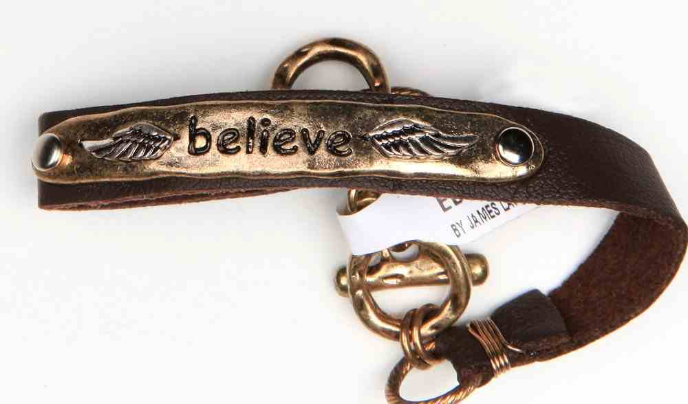 Leather Bracelet: Inspirational Metal Accent, Believe, 20Cm, Adjustable Bar & Ring Closure Jewellery
