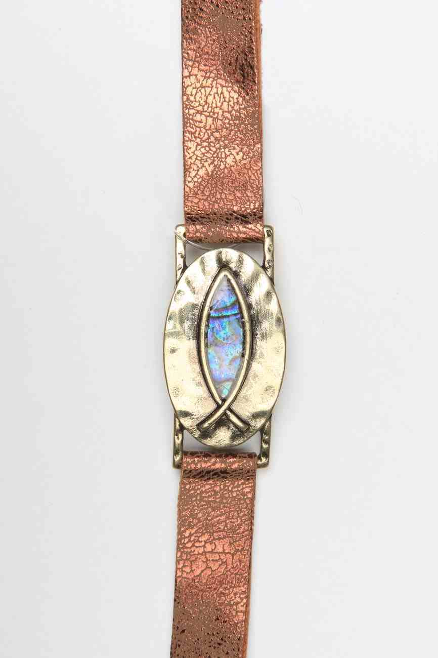 Leather Bracelet: Fish Icthus, 20Cm, Snap Closure Jewellery