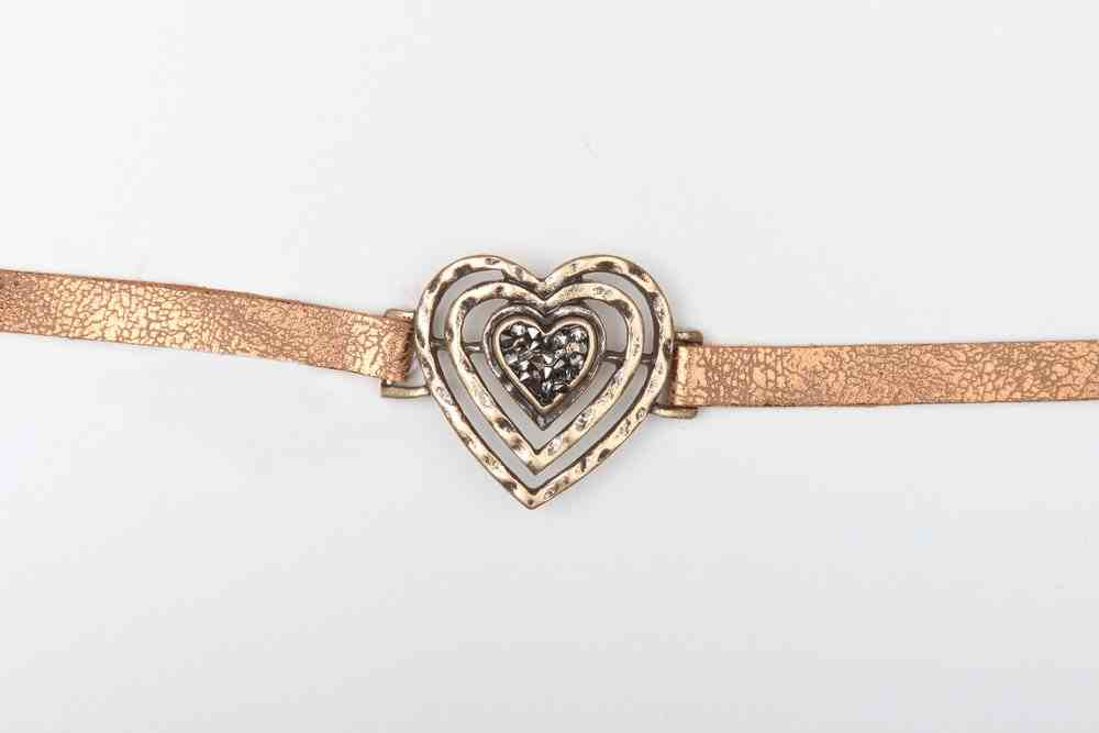 Leather Bracelet: Heart, 20Cm, Snap Closure Jewellery