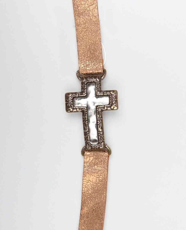 Leather Bracelet: Cross, 20Cm, Snap Closure Jewellery