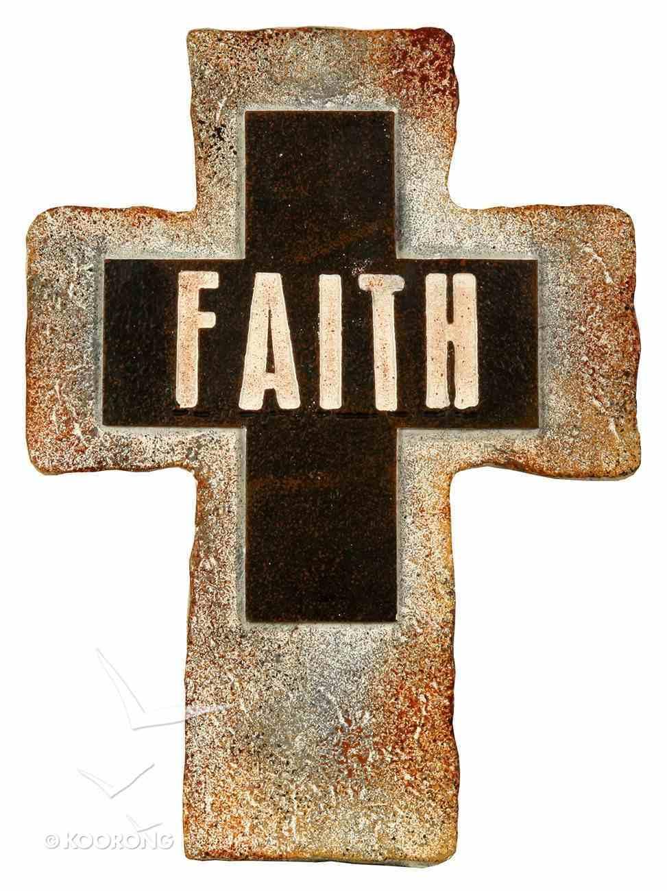 Resin Standing Cross: Faith, 20Cm Plaque