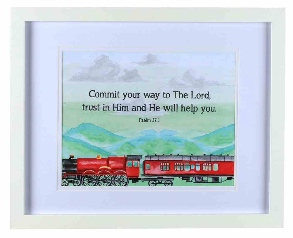 Framed Children's Print Watercolour Train, Psalm 37: 5 Plaque