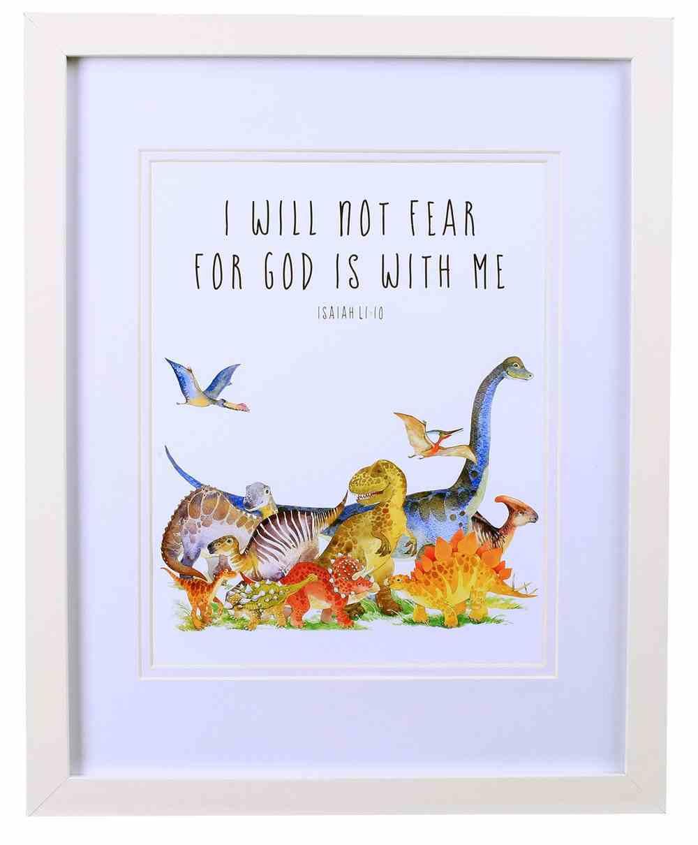 Framed Children's Print Watercolour Dinosaurs, Isaiah 11: 10 Plaque