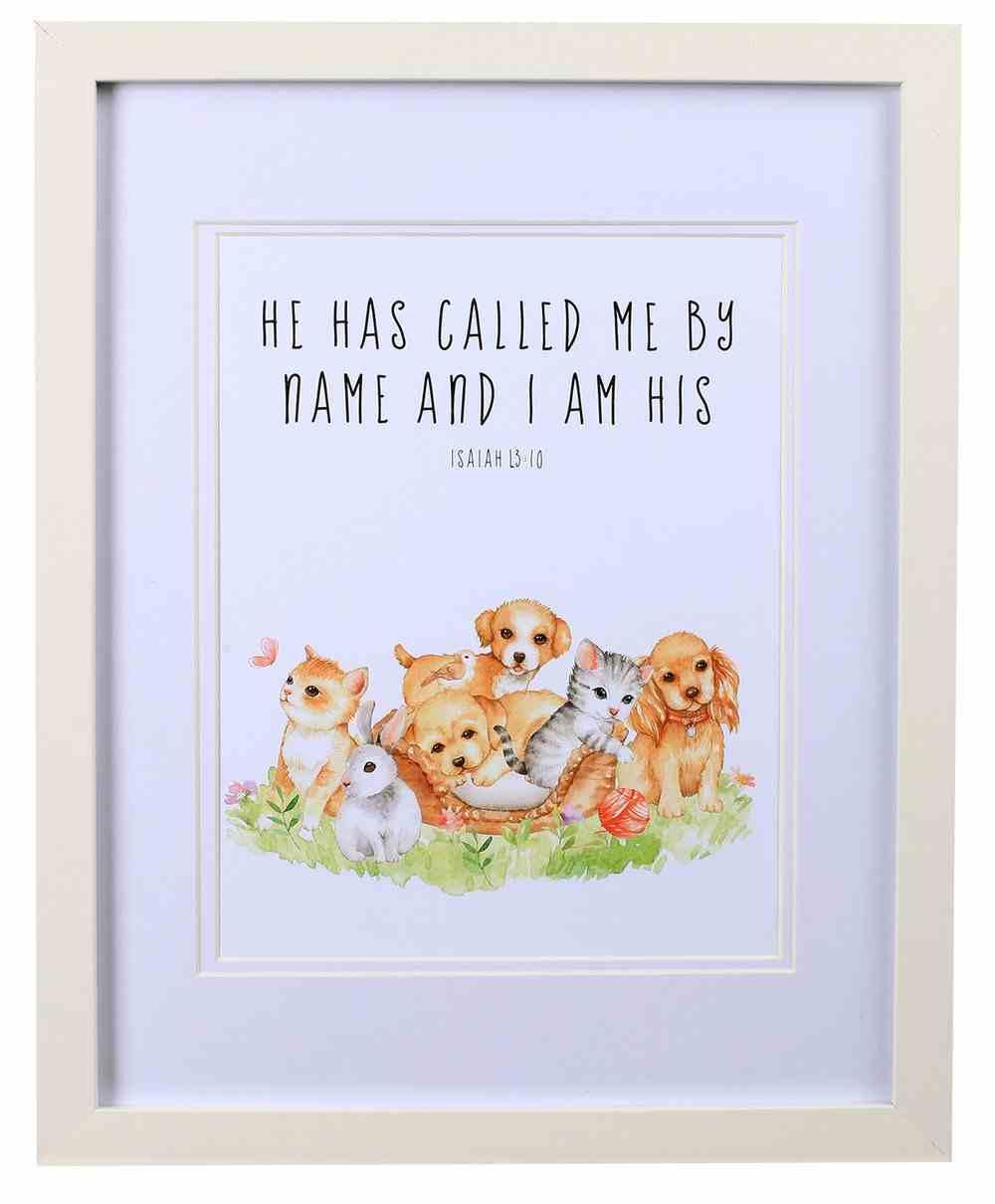 Framed Children's Print Watercolour Pets Plaque