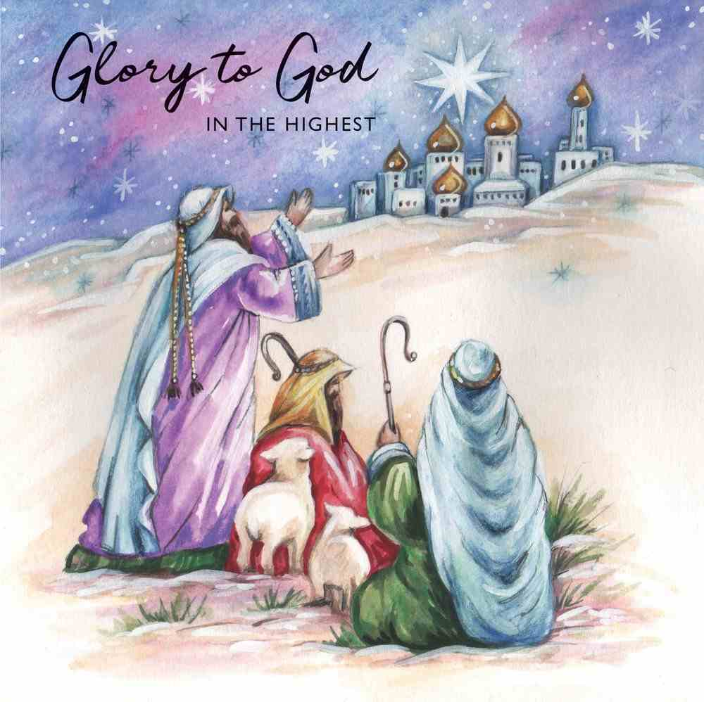 Christmas Boxed Cards Three Shepherds With Sheep, Glory to God in the Highest Box