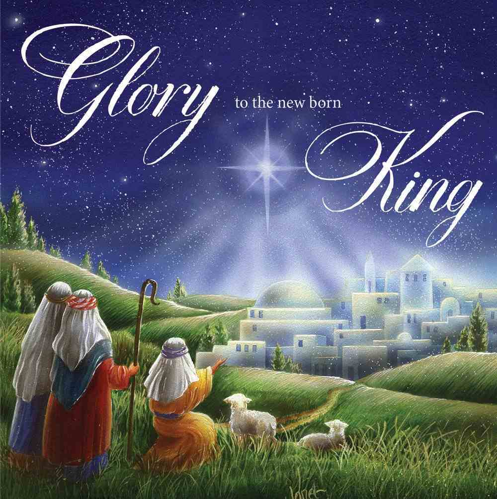 Christmas Boxed Cards Three Shepherds With Sheep, Glory to the New Born King Box