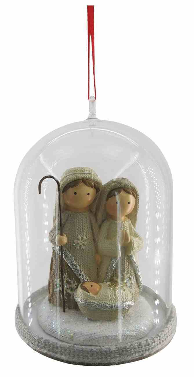 Resin Nativity Bell Glass Ornament, White Knitting Finish Homeware
