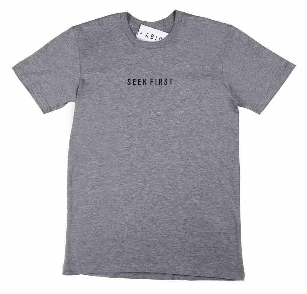 Mens Staple Tee: Seek First, Large, Grey Marle With Black Print (Abide T-shirt Apparel Series) Soft Goods