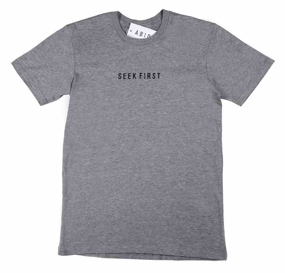 Mens Staple Tee: Seek First, Xlarge, Grey Marle With Black Print (Abide T-shirt Apparel Series) Soft Goods