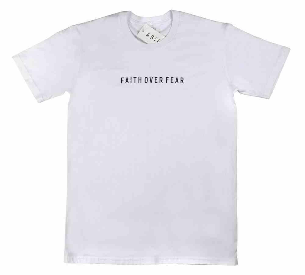 Mens Staple Tee: Faith Over Fear, 2xlarge, White With Black Print (Abide T-shirt Apparel Series) Soft Goods