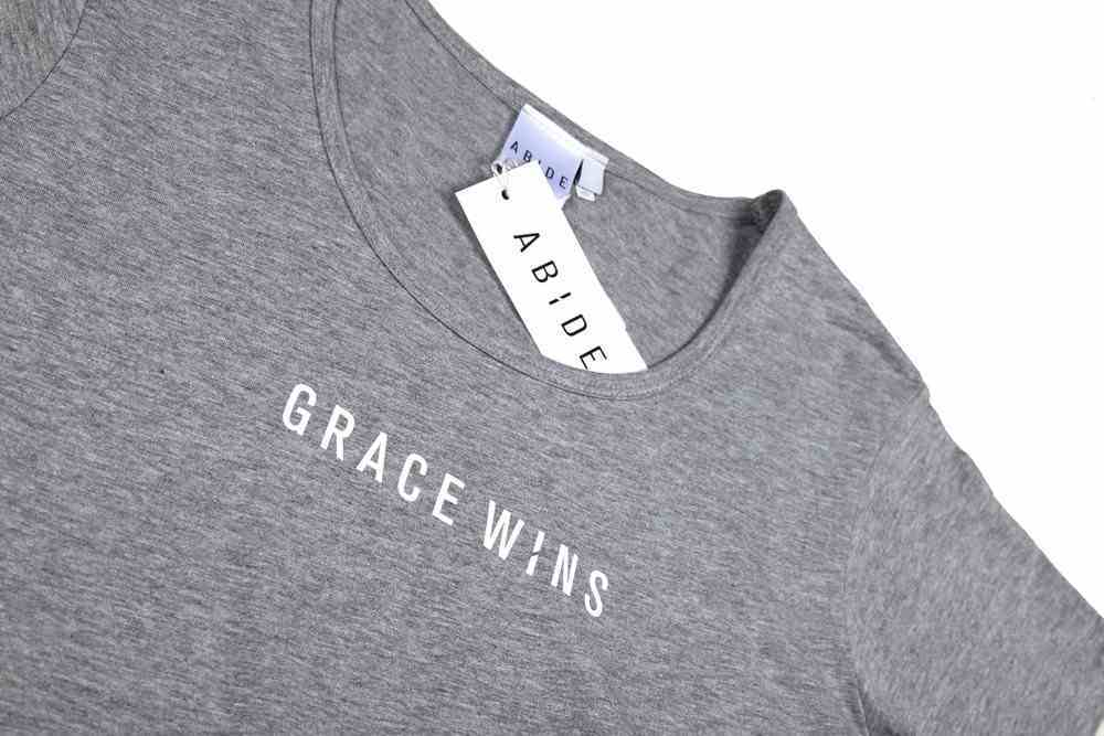 Womens Mali Tee: Grace Wins, Medium, Grey Marle With White Print (Abide T-shirt Apparel Series) Soft Goods