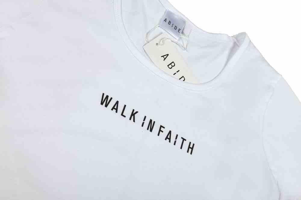 Womens Mali Tee: Walk in Faith, Large, White With Black Print (Abide T-shirt Apparel Series) Soft Goods