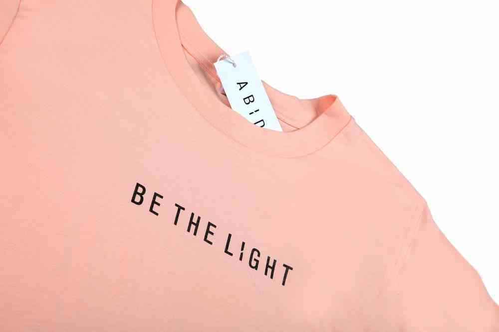 Womens Cube Tee: Be the Light, Medium, Pale Pink With Black Metallic Print (Abide T-shirt Apparel Series) Soft Goods