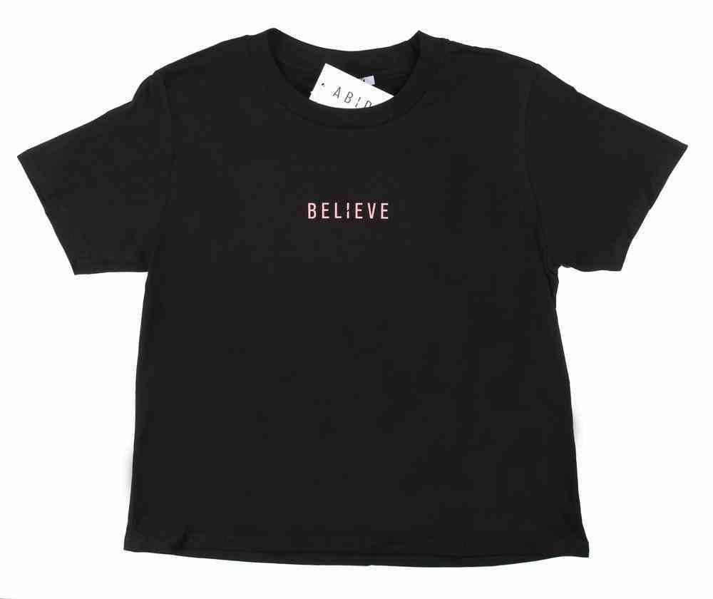 Womens Cube Tee: Believe, Xsmall, Black With Rose Gold Metallic Print (Abide T-shirt Apparel Series) Soft Goods