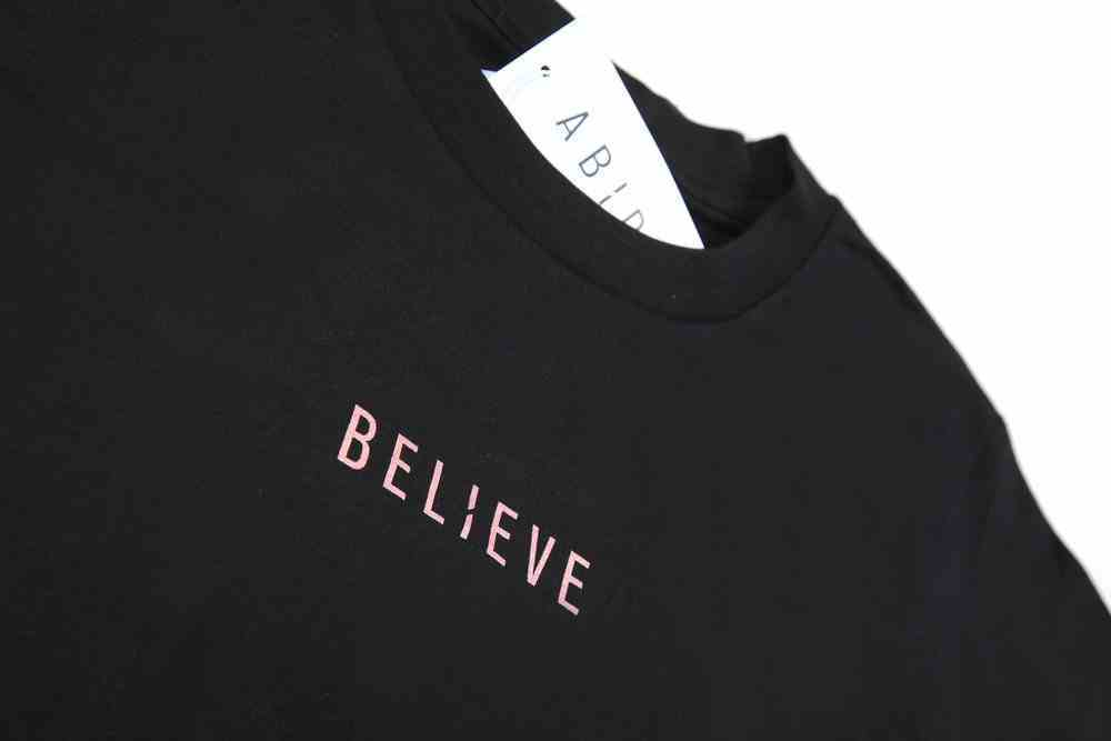 Womens Cube Tee: Believe, Small, Black With Rose Gold Metallic Print (Abide T-shirt Apparel Series) Soft Goods
