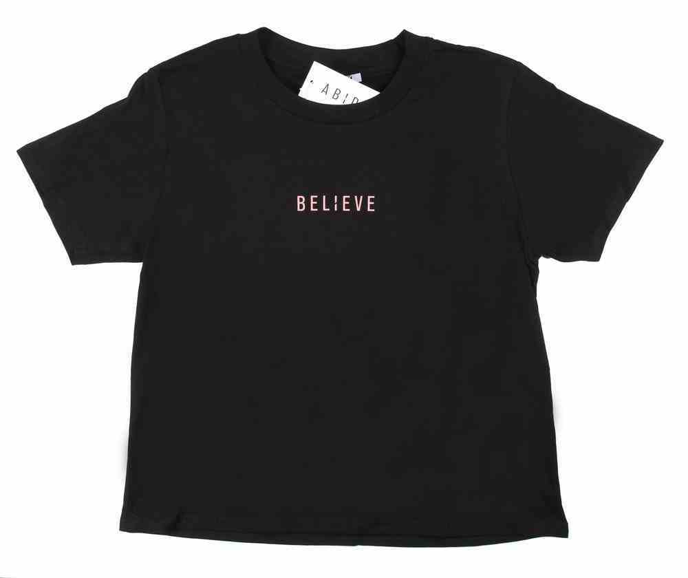 Womens Cube Tee: Believe, Large, Black With Rose Gold Metallic Print (Abide T-shirt Apparel Series) Soft Goods