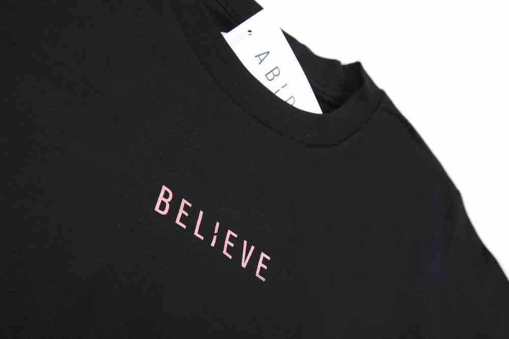 Womens Cube Tee: Believe, Xlarge, Black With Rose Gold Metallic Print (Abide T-shirt Apparel Series) Soft Goods