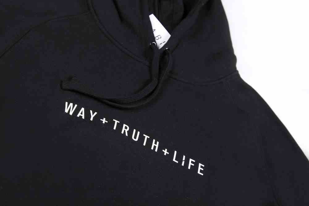 Supply Hood: Way+Truth+Life, Small, Black With White Print (Abide Hoodie Apparel Series) Soft Goods