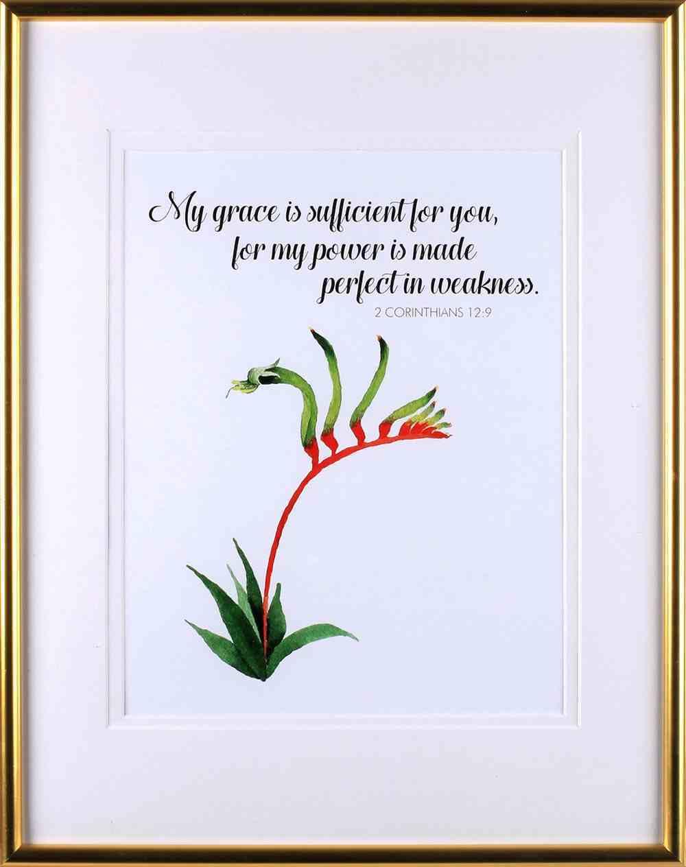 Medium Gold Framed Print: Australian Native Kangaroo Paw Flower, 2 Corinthians 12:9 Plaque