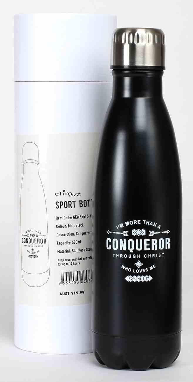Water Bottle 500ml Stainless Steel: Conqueror, Matt Black Homeware