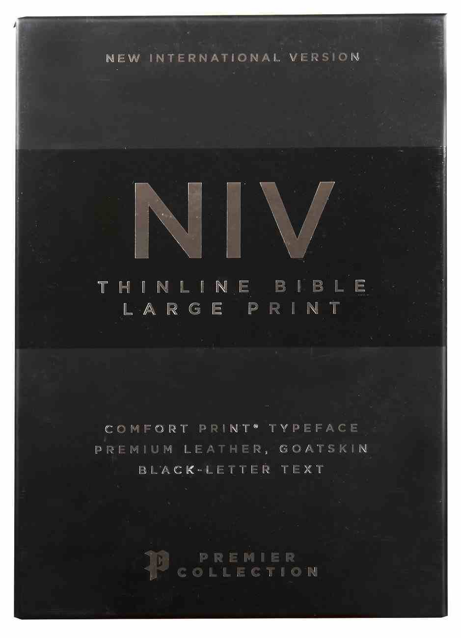 NIV Thinline Bible Large Print Black Premier Collection (Black Letter Edition) Genuine Leather