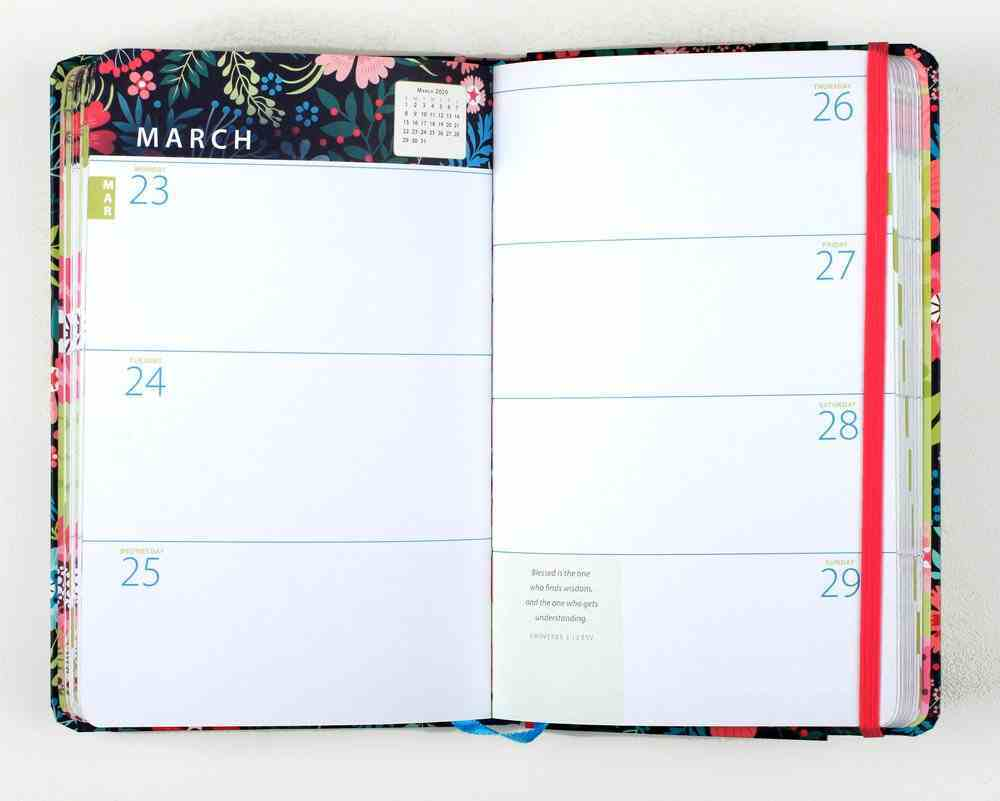 2020 16-Month Weekly Diary/Planner: God is My Happy Place, Bright Floral/Blue, Pink, White Hardback