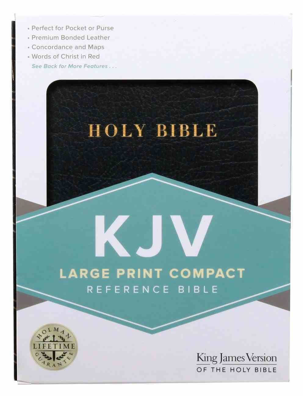 KJV Large Print Compact Bible Black Indexed Bonded Leather