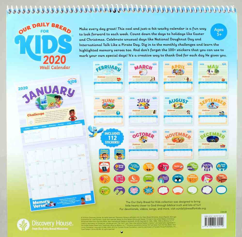2020 Wall Calendar: Our Daily Bread For Kids (With 100+ Stickers) (Our Daily Bread For Kids Series) Spiral