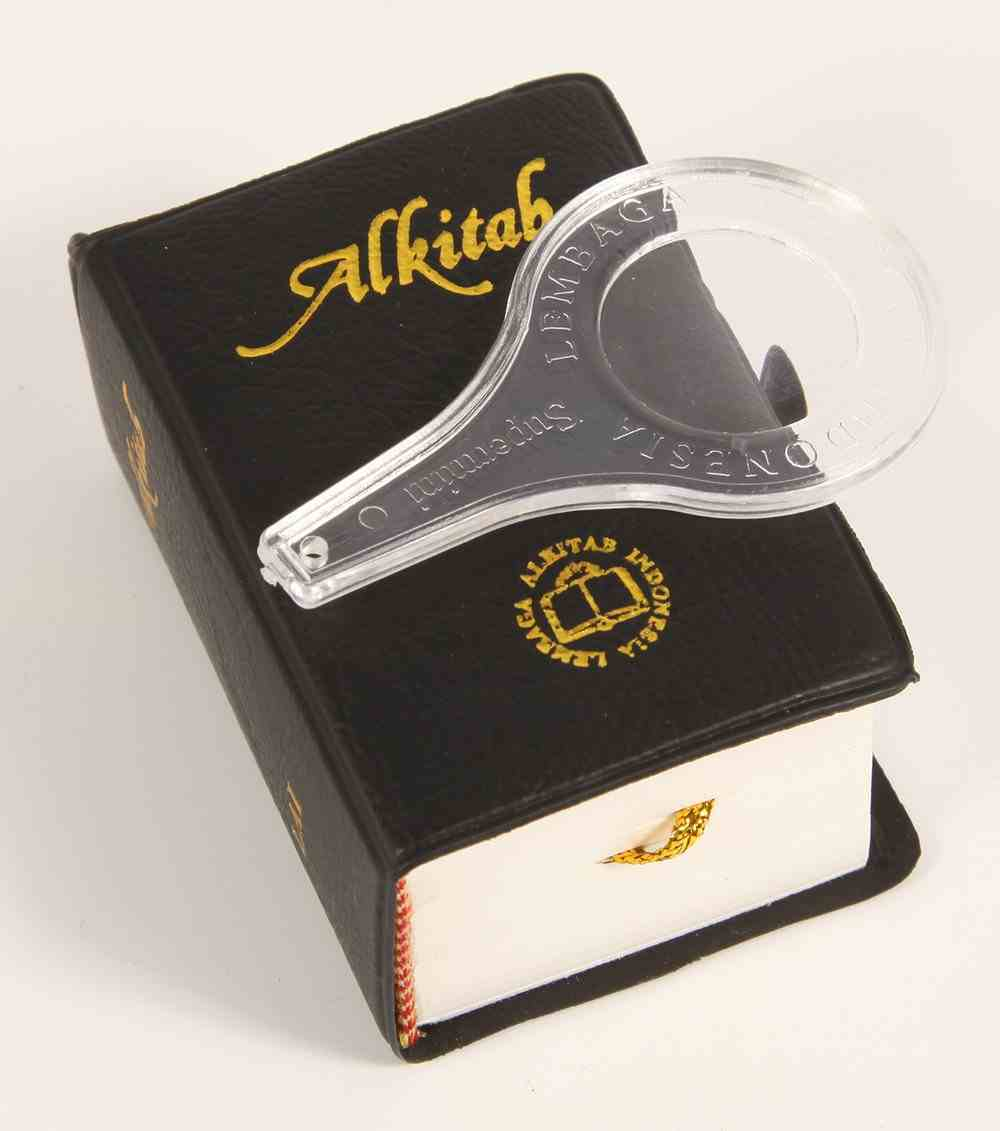 Alkitab Indonesian Supermini Bible Black With Small Magnifying Glass Vinyl
