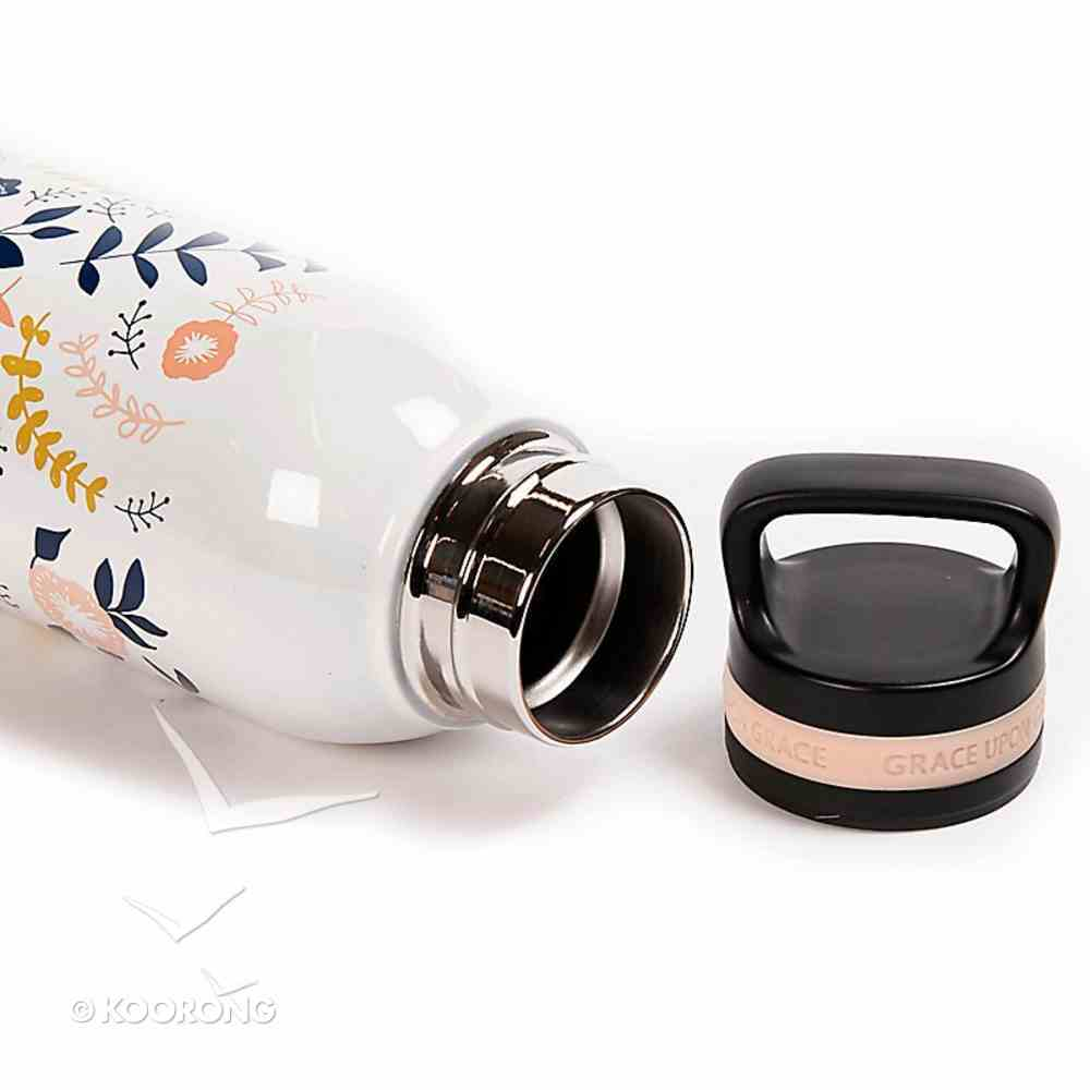 Water Bottle 730ml Stainless Steel: Grace Upon Grace, Peach Floral Design (Grace Upon Grace) (Everyday Hospitality Series) Homeware