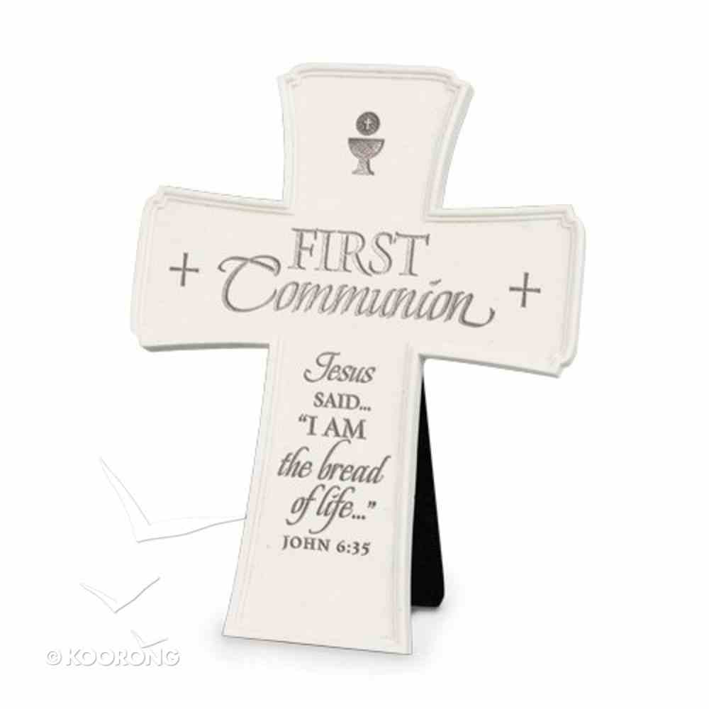 Cross Desktop: Cast Stone: First Communion (John 6:35) Homeware