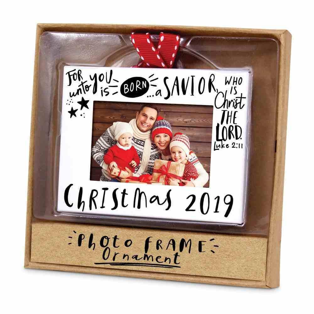 Christmas Ornament Frame: Christmas 2019, White Metal Finish With Red Ribbon, Luke 2:11 Homeware