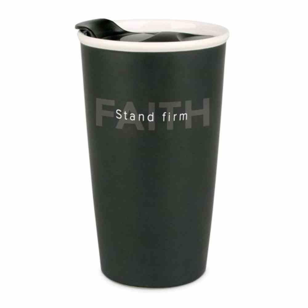 Ceramic Tumbler Mug: Simple Truth, Stand Firm, Black/White (1 Cor 15:58) Homeware