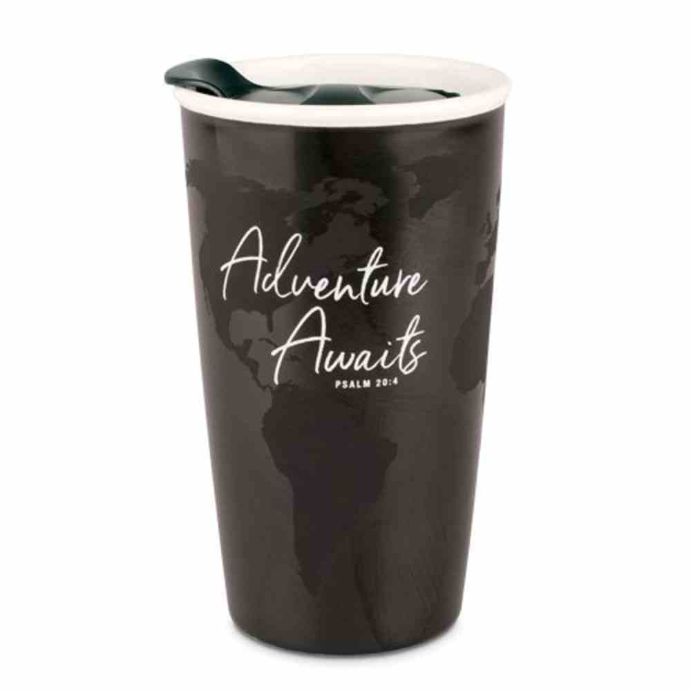 Ceramic Tumbler Mug: Adventure Awaits, Black/White (Psalm 20:4) Homeware
