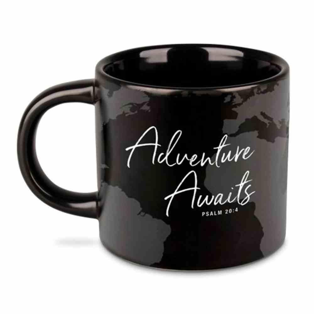 Ceramic Mug: Adventure Awaits, Black/White (Psalm 20:4) Homeware