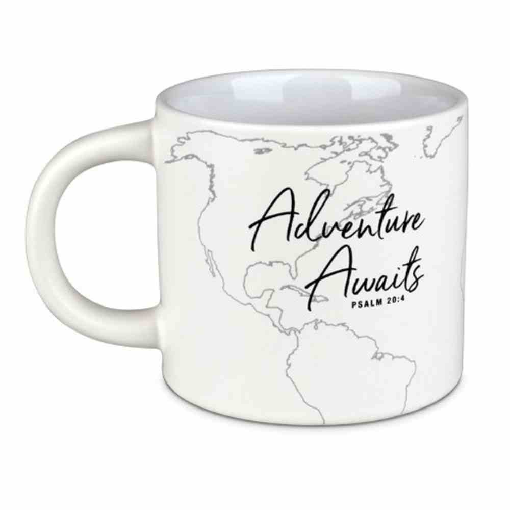 Ceramic Mug: Adventure Awaits, White (Psalm 20:4) Homeware