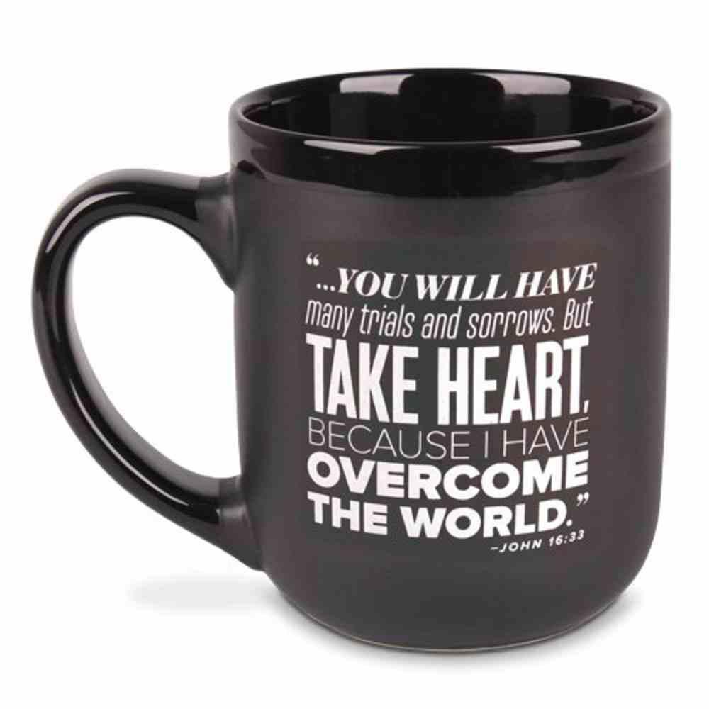 Ceramic Mug: Encourage Men, Take Heart, Black/White (John 16:33) Homeware
