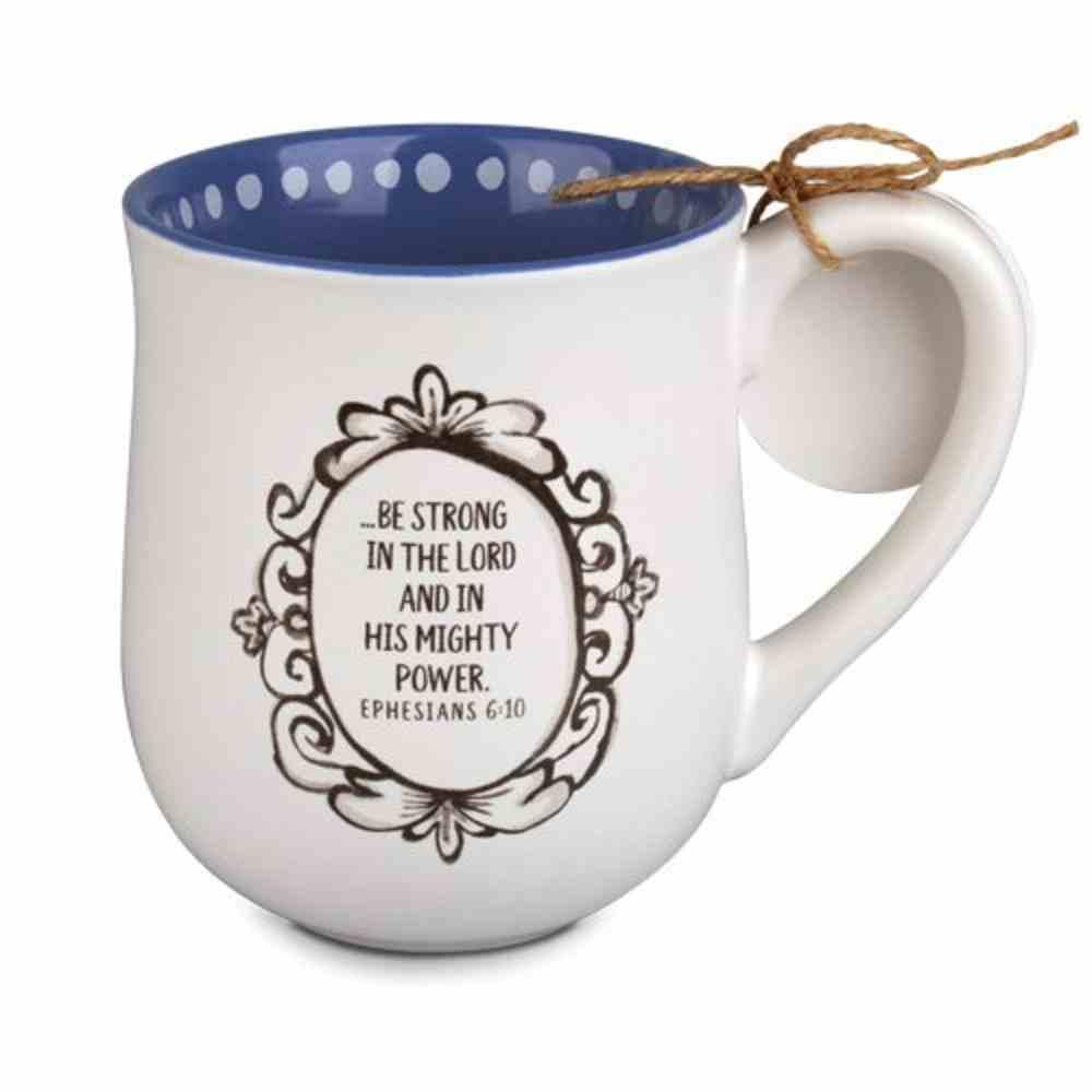 Ceramic Mug Flourish: You've Got This, Navy Inside/White Outside (Eph 6:10) Homeware
