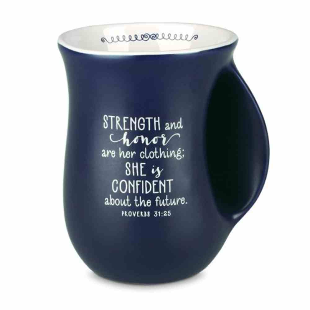 Ceramic Handwarmer Mug: Affirmed You Are Amazing, Navy/White (Prov 31:25) Homeware