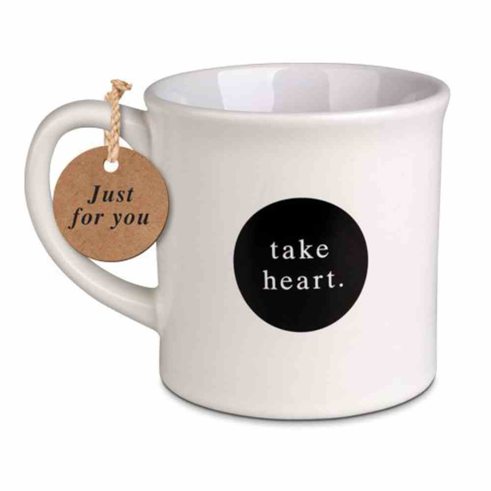 Ceramic Mug Simplified: Take Heart, White (Psalm 27:14) Homeware