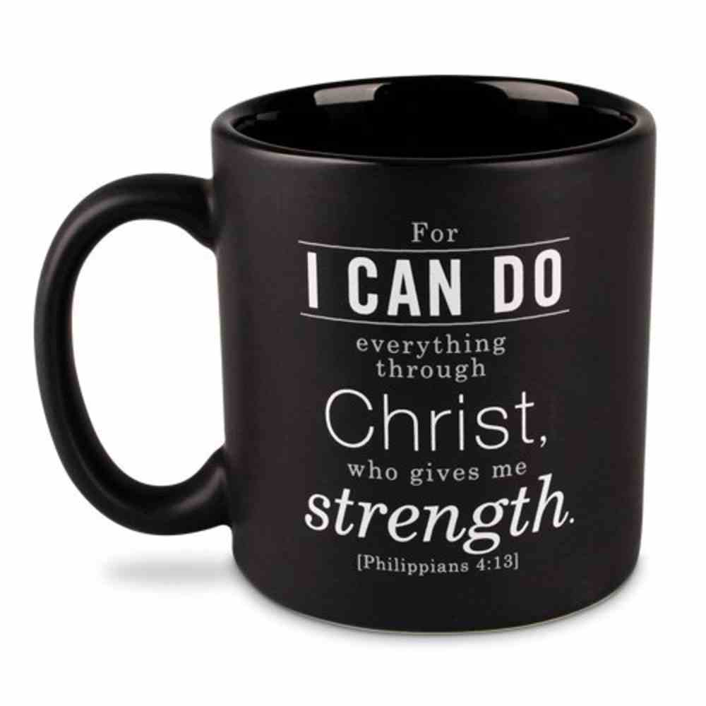 Ceramic Mug Simple Faith: Serenity Prayer, Black/White (Philippians 4:13) Homeware