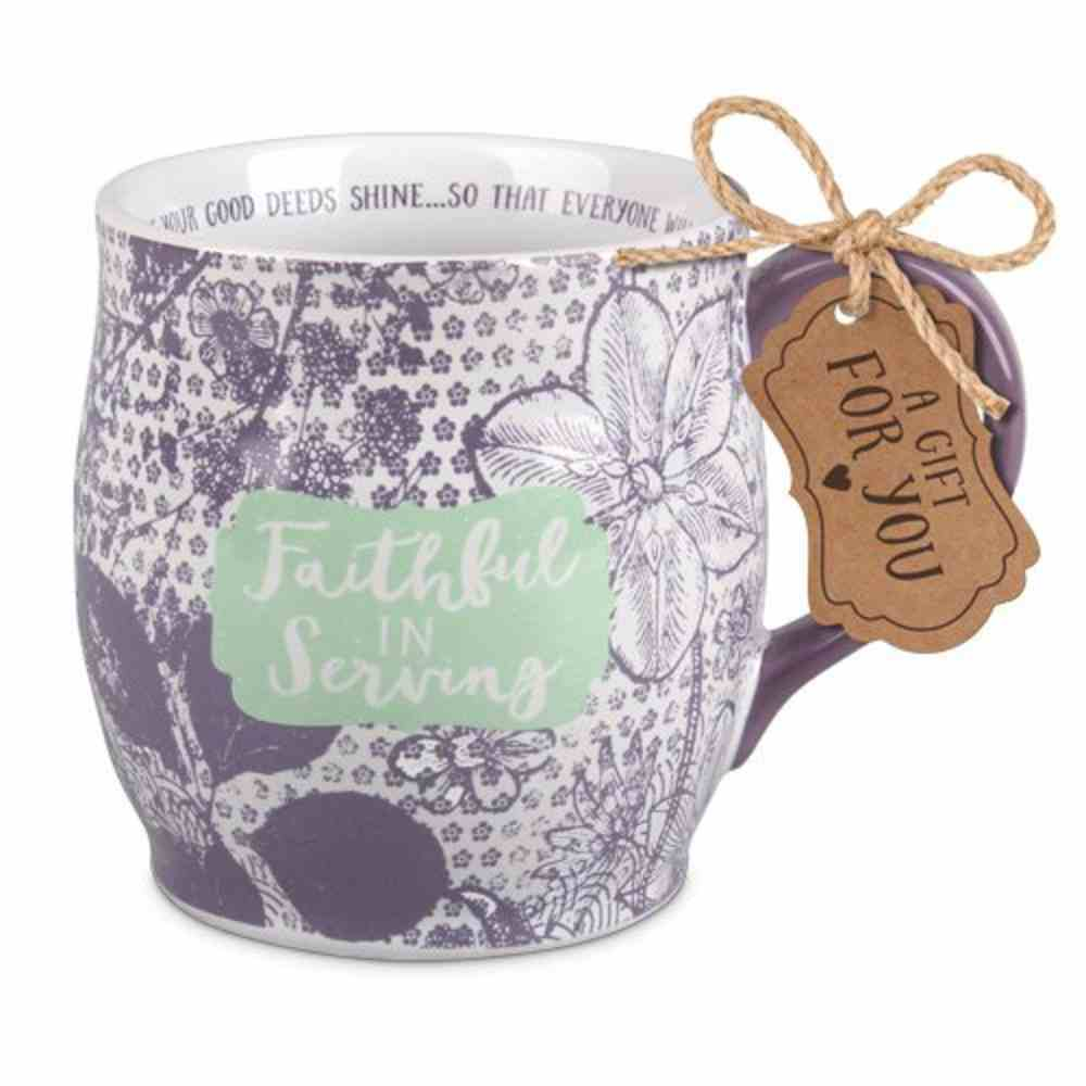 Ceramic Mug Pretty Prints: Faithful in Serving, Purple/White (Matthew 5:16) Homeware
