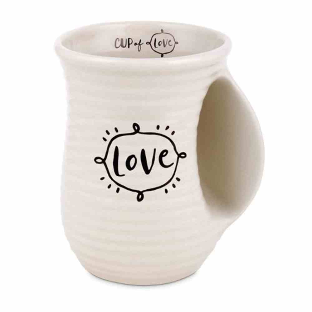 Ceramic Handwarmer Mug: Cup of Love, Scripture Ink, Cream/Black (1 Cor 16:14) Homeware