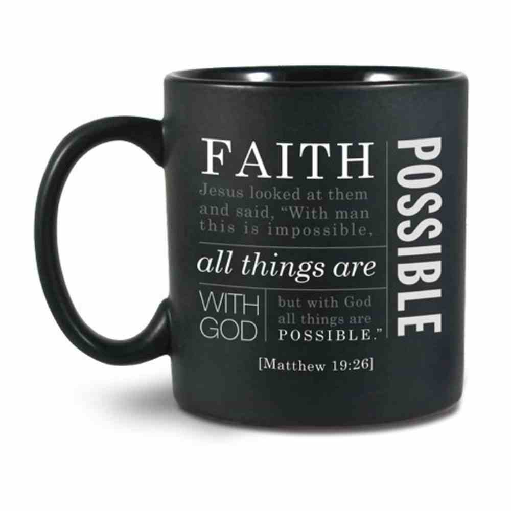 Ceramic Mug Simple Faith: Faith, Black/White (Matthew 19:26) Homeware