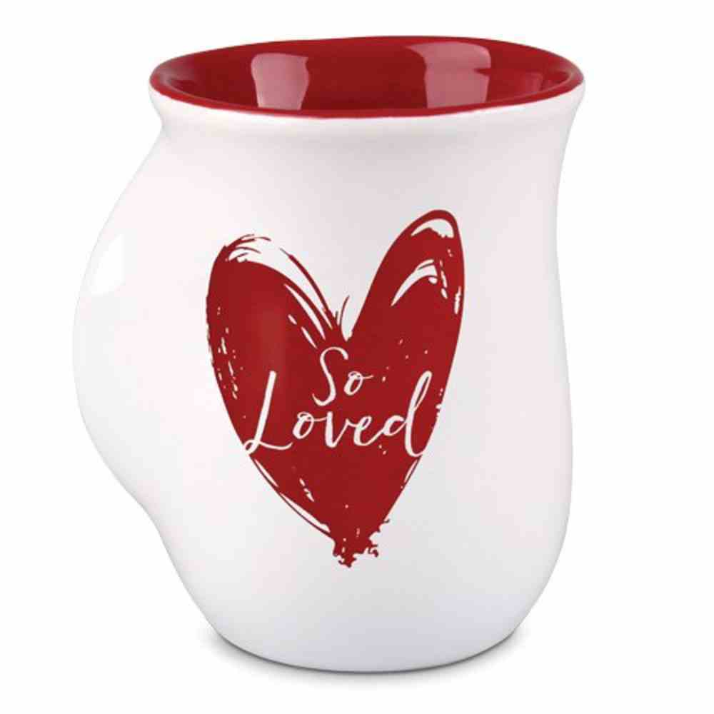 Ceramic Handwarmer Mug: So Loved, White/Red Heart (1 Peter 1:22) Homeware