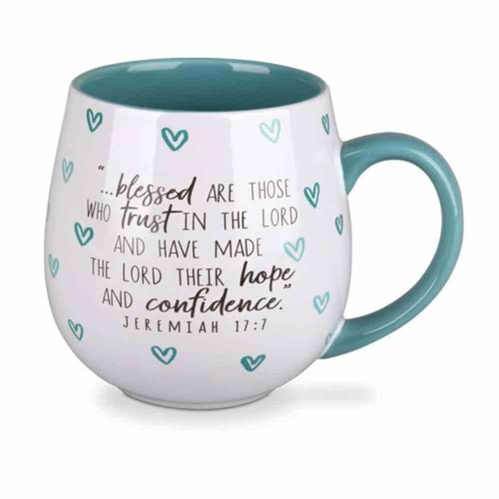 Ceramic Mug Happy Heart: Blessed, Turquoise (Jeremiah 17:7) Homeware