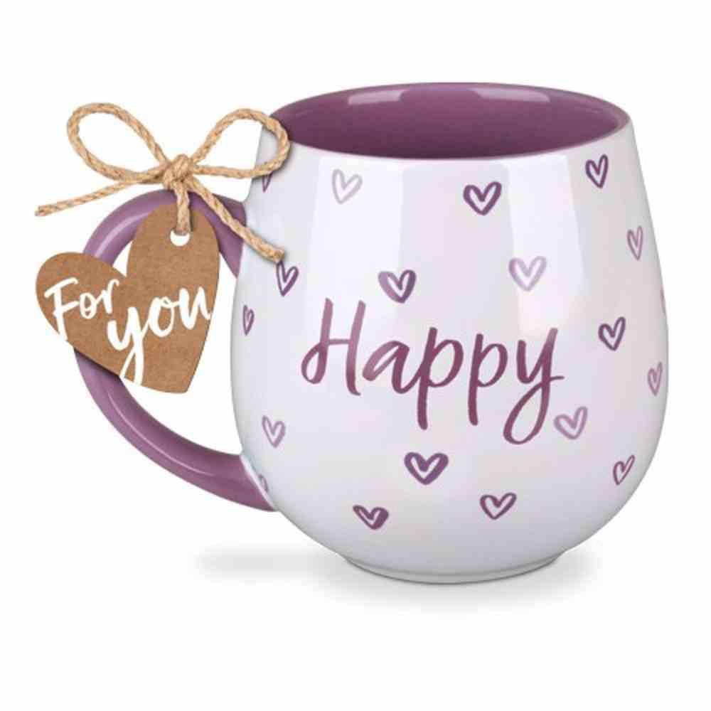 Ceramic Mug Happy Heart: Happy, Purple (Psalm 4:7) Homeware