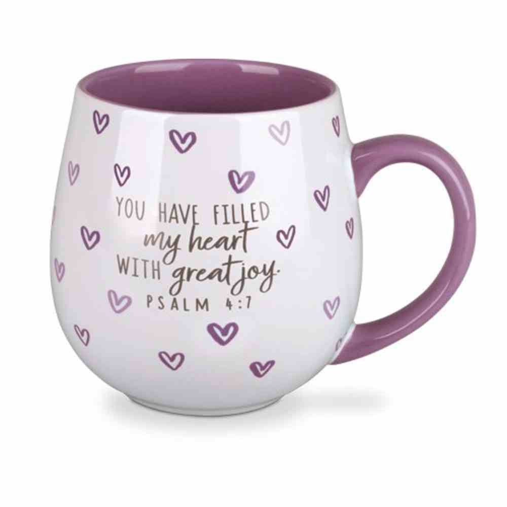 Ceramic Mug Happy Heart: Happy, Purple (Psalm 4:7) Homeware